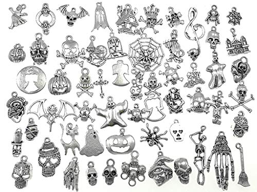 Kinteshun Assorted Halloween Hallowmas Theme Charm Pendant Connector for DIY Jewelry Making Accessaries(60pcs,Tibetan Silver Tone) ()
