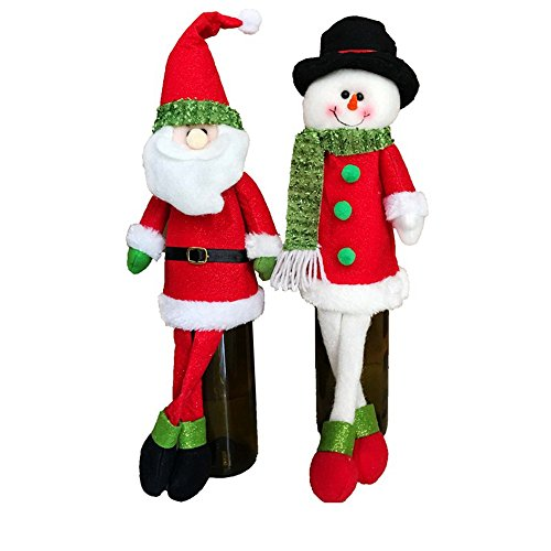 Wine Bags, Homecube Homecube 2pcs Cute Santa Claus & Snowman Doll Wine Bottle Cover Party Christmas Table Decoration
