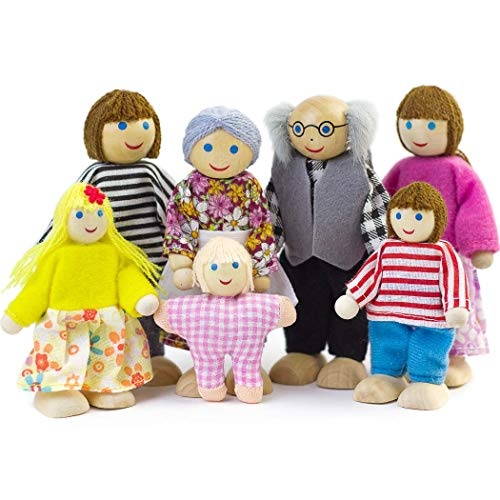 Seanmi Dollhouse People, Dolls Family of 7 Poseable Wooden Doll ()