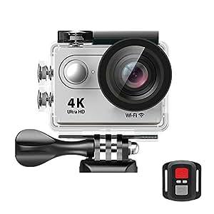 EKEN H9R Wifi Cámara Deportiva Impermeable con 2 Batería 4K25fps Sony Sensor + 2.4G Control remoto + Selfie palillo + base de carga (Silver)