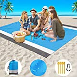 """GZTLJ Beach Blanket,Picnic Blanket Large Sand Free Compact for 7 Persons Water Proof Quick Drying Beach Mat Made by Premium Nylon Pocket Picnic Sheet for Outdoor Travel (78"""" X 81"""")"""