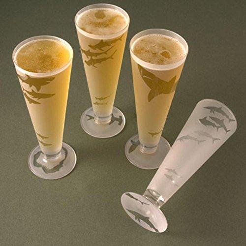 Set of 4 Circling Sharks Etched Pilsner Beer Drinking Glasses - 16 (Shark Glass Pilsner Glass)