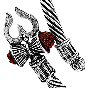 MEENAZ M113 Unisex Rudraksha Trishul Damroo Designer Metal Oxidized Silver Bahubali Cuff Bracelets for Men and Women