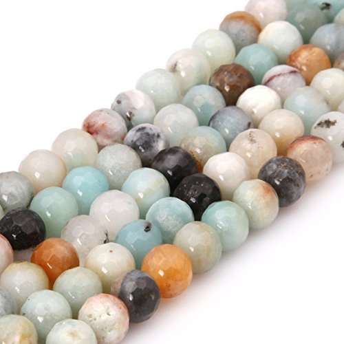 GEM-inside Mixed Amazonite Gemstone Loose Beads Natural 6mm Round Faceted Crystal Energy Stone Healing Power for Jewelry Making 15