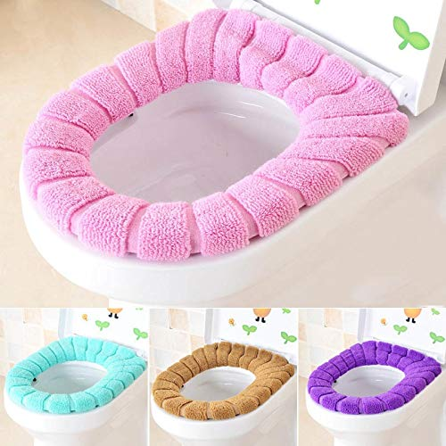 Toilet Seat Covers - O Shape Toilet Cushion Mat Thick Knitted 1pc Pumpkin Pattern Bathroom Standard Seat Cover - Stickers Training Cloth Same On Holder Black Xl Kole Charmin