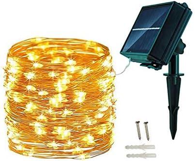 Amarillo c/álido-6) 20M 200 LED Cadena de Luces Blanco C/álido Festivales 8 Modos Cadena de Luces Decoraci/ón para Navidad,Fiestas,Bodas,Patio Jardines APSONAR Guirnalda Luz Exterior Solar