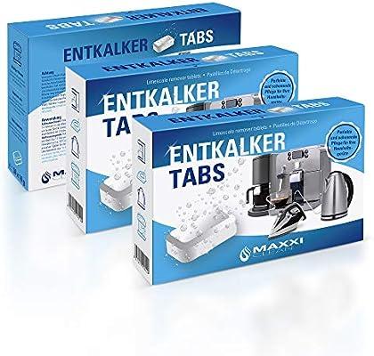Maxxi Clean 20 descalcificador de Tabs, Solucionador de cal y limpiador como limpiador multiusos para la limpieza antical para cafeteras automáticas, Senseo, Tassimo ...
