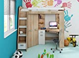 High Sleeper, Bunk Bed/Entresole. ALL IN ONE. Left Hand-side Stairs. Kids/Children Furniture Set. Bed, Wardrobe, Shelves, Desk (Sonoma Oak - White)