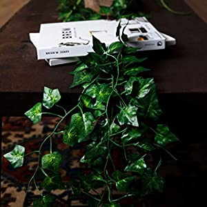 Hanging Fake Greenery Plants for Decoration: Artificial Ivy Plant Wall Decorations for Fairy Party, Wedding Backdrop - 78 Feet of Faux Ivy Garland Vine / Leaves with 5 Hooks - 6.5 Foot Vines, 12 Pack 6