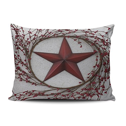 Salleing Custom Plain Unique Country Red Stars and Berries Decorative Pillowcase Pillowslip Throw Pillow Case Cover Zippered One Side Printed 12x20 Inches