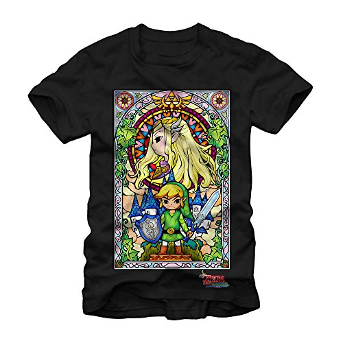 Nintendo The Legend of Zelda: The Wind Waker Regal Stained Glass Black T-shirt (Medium)]()