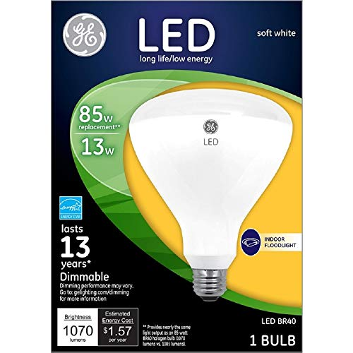 - G E LIGHTING 41055 LED Flood Light Bulb, Indoor, Soft White, 1,070 Lumens, 13-Watt - Quantity 1