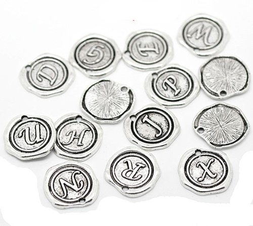 Rockin Beads Brand, 26 18mm Alphabet A-z Drop Beads Antiqued Silver Cast Zinc Metal Beads - Cast Metal Beads