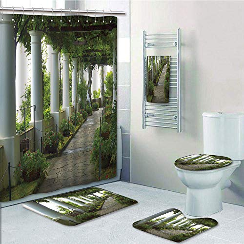 Bathroom 5 Piece Set shower curtain 3d print,Italian Decor,Terrace with the Seascape on Island of Capri Italy Flowers Swirls,Forest Green and White,Bath Mat,Bathroom Carpet Rug,Non-Slip,Bath Towls