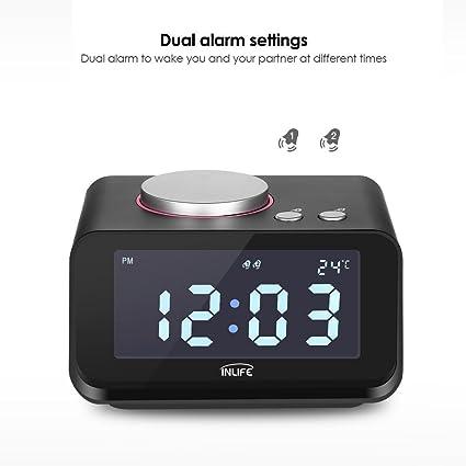 INLIFE Despertador con Radio FM, Radiodespertadores Digitales, Alarma Dual, Dual Puerto de Carga USB, Función de Altavoz, Temperatura Interior, ...
