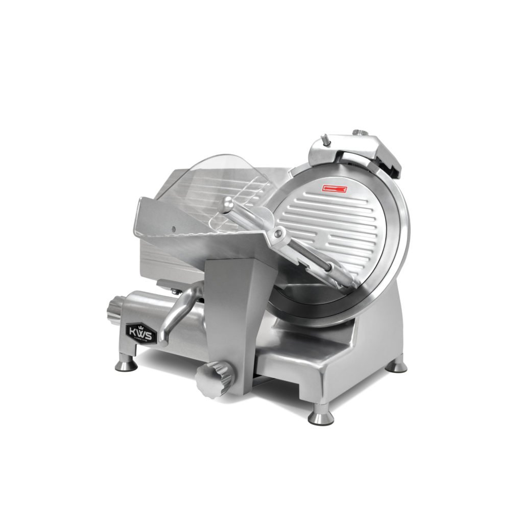 KWS Metal Collection Commercial 420W 12 Inches Meat Slicer MS-12DS Anodized Aluminum Base with Stainless Steel Blade + Blade Removal Tool, Frozen Meat/ Cheese/ Food Slicer Low Noises Commercial and Home Use by KitchenWare Station