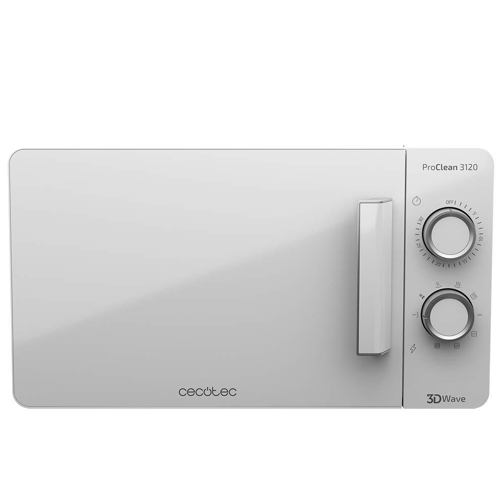 Cecotec Microondas con Grill ProClean 3120. Capacidad de 20l, Revestimiento Ready2Clean, 700 W de Potencia, Grill 800W, 6 Niveles, Temporizador 30 ...