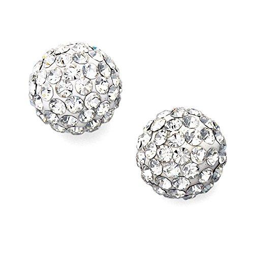 Crystal Ball Stud Earrings 925 Sterling Silver Clear