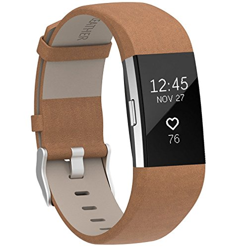 Henoda Replacement Bands Compatible with Fitbit Charge 2, Classic Genuine Leather Charge 2 Band Fitness Wristband for Women Men Small Large Brown