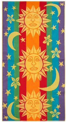 Sun Stars & Moon Blue Orange by Cotton Craft - Terry Jacquard Beach Towel size 30x60 - 400 grams 100% Pure Ringspun Cotton - Brilliant intense vibrant colors - Highly absorbent easy care machine wash - Use for picnic poolside or as a colorful bath towel