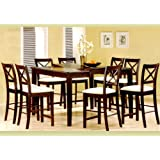 9pc Cappuccino Wood Counter Height Dining Table U0026 8 Chairs Set