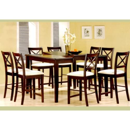 8 seater dining set narra 9pc cappuccino wood counter height dining table chairs set seat square table amazoncom