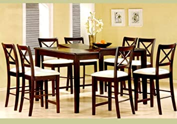 9pc Cappuccino Wood Counter Height Dining Table 8 Chairs Set
