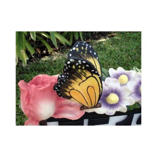 Butterfly Flowers Outdoor Solar Home Address Sign Light