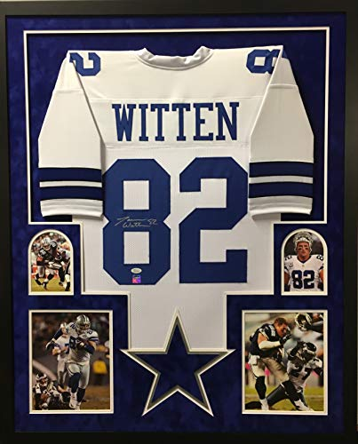 Jason Witten Dallas Cowboys Autograph Signed Custom Framed White Jersey Suede Mat Witten Hologram & JSA Witnessed Certified