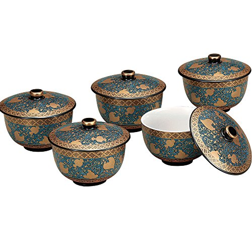 Kutani Yaki Yunomi Japanese Teacup Set Ao-Chibu (5 cups) by Kutani