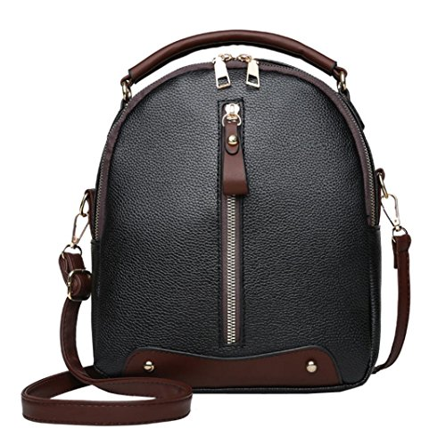 - Clearance! ❤️ Women Double Shoulder Bags,Neartime Vintage Leather Backpack Travel School Bag Square Zipper Satchel ( 23cm(L)×9cm(W)×26cm(H), Black)