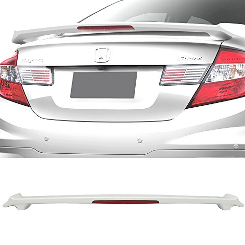 Pre-painted Trunk Spoiler Fits 2012-2015 Honda Civic 4Dr Sedan | MD Style ABS #NH578 Taffeta White Rear Spoiler Deck Lip Wing Other Color Available by IKON MOTORSPORTS | 2013 2014