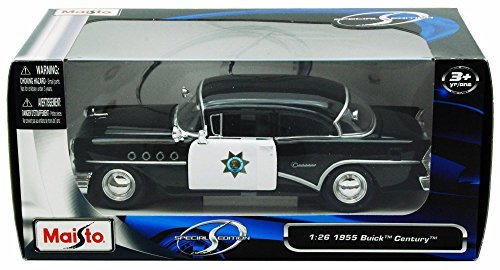 1955 Buick Century California Highway Patrol Car, Black - Maisto 31295 - 1/24 Scale Diecast Model Toy Car - Buick Century Diecast Model