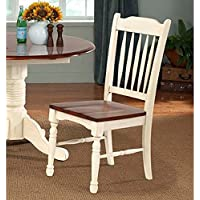 British Isles Slat Back Side Chair [Set of 2] Finish: Merlot and Buttermilk