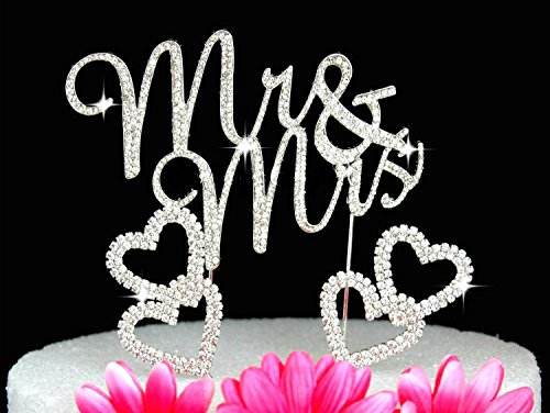 (Mr & Mrs Monogram Cake Toppers Crystal Wedding Cake Topper Bling (Silver Swirl with hearts))