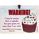 2 Pack: Sweeter Than a Cupcake Don't Touch The Baby 6 x 4 inch Laminated Car Seat Sign by Cold Snap Studio - Handmade in The USA!