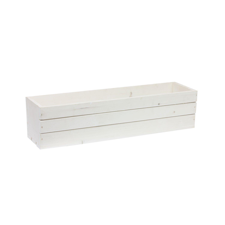 Boite decorative en bois blanchis 60 cm coffre de rangement Tintours