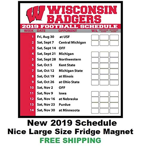 Wisconsin 2019 Football Schedule Amazon.com: 2019 NCAA Wisconsin Badgers Football Schedule Fridge
