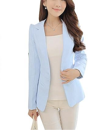 b415bd7a8ef5 Femme Loisir Manches Longues Veste Blazer Slim Fit Veste Cintrée Costume  Jacket Azur XS