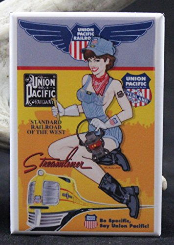 Streamliner Union Pacific Railroad Pinup Girl Refrigerator Magnet.