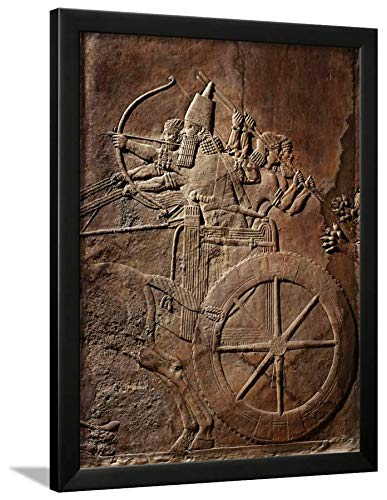- ArtEdge King Ashurbanipal on His Chariot, Assyrian Reliefwork, from Palace at Nineveh, 650 BC Black Framed Wall Art Print, 24x18 in