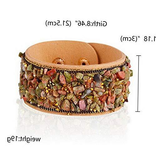 - Mikash Women Gravel Natural Stone Bangles Leather Bracelet Cuff Wrap Wristband Gifts | Model BRCLT - 12572 | Khaki Width 3cm