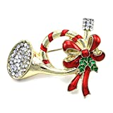 SoulBreezeCollection Christmas Pin Trumpet Horn Red Ribbon Mistletoe Brooch Winter Holiday