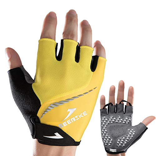 Fingerless Bike Gloves - SEEBIKE Cycling Gloves Fingerless Bicycle Gloves Mountain Bike Gloves with Gel Shock Absorbing Padding MTB Road Bike Gloves for Men Boys (Yellow, Medium)