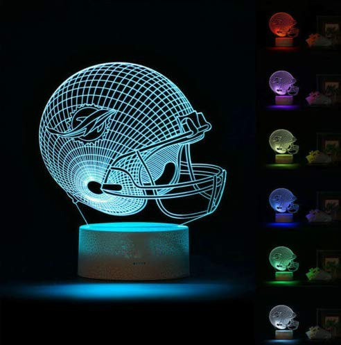 Football Helmet Light - Touch Control Football Team Light Lamp- 7 Color Changing Touch Light Lit Base - Night Light for Boys Men Women for Football Sports Lovers (Miami Dolphins)