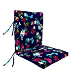 Classic Polyester Outdoor Large Club Chair Cushion With Ties, 44'' x 22'' with hinge 22'' from bottom - Midnight Butterfly