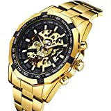 Watch, Men's Watches Gold Fashion Skeleton Mechanical Business Self Automatic Winding Punk Style with Stainless Steel Band Wrist Watch