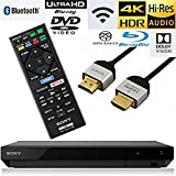 NeeGo Sony UBP-X700 UBP-X70 Streaming 4K Ultra HD 3D Hi-Res Audio Wi-Fi and Bluetooth Built-in Blu-Ray Player with A 4K HDMI Cable and Remote Control- Black