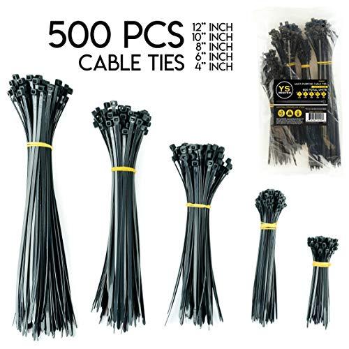 YS Industries Black Zip Ties Assorted Multi-Purpose Self Locking Cable Ties Variety Pack of 4+6+8+10+12 Inch Black (500 Pcs)