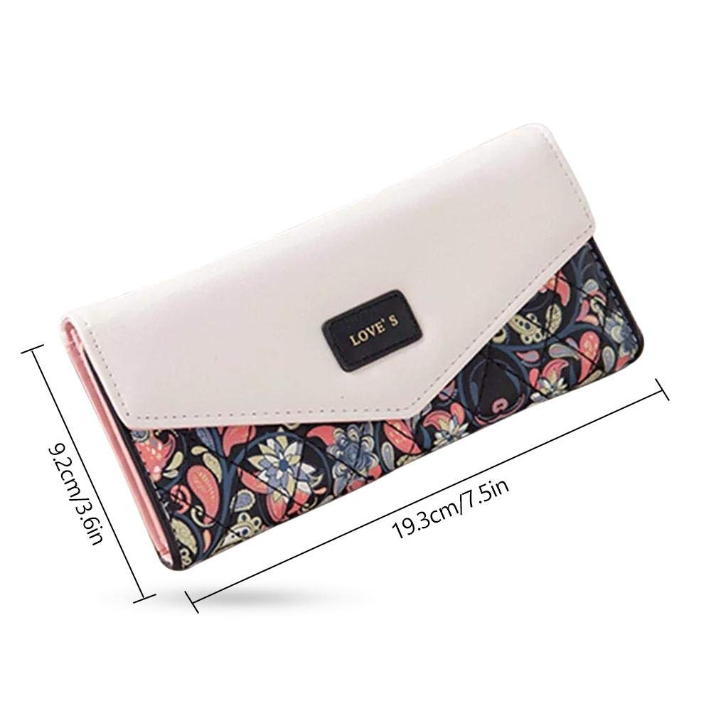 44b83873012e Amazon.com: FOONEE Cute Wallets Women, Floral PU Leather Long ...